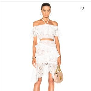 Alexis white lace Nahara skirt XS